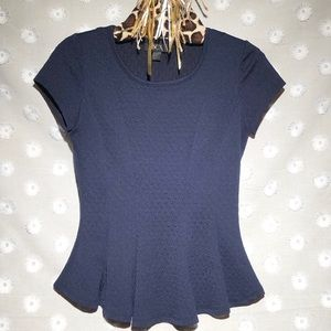 BCX navy blue cap sleeve pleated work top